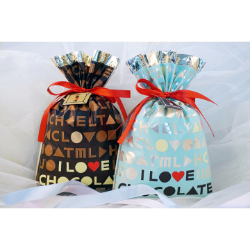Brown Valentine's Day Plastic Chocolate Drawstring Bag