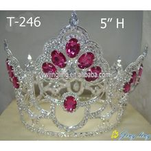 Wholesale Cheap Pink Crystal Full Round Crowns