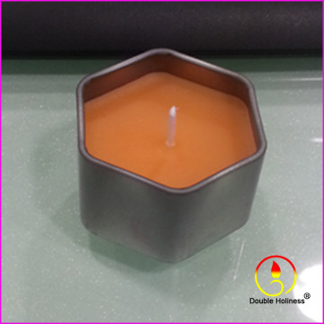 direct bulk Hexagon plum tin cups cameo candles