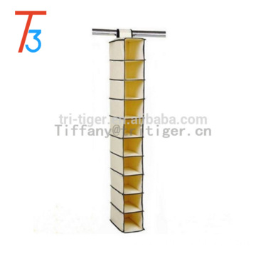 10 HANGING SHELVES POCKET SHOES GARMENTS STORAGE WARDROBE CLOTHES TIDY ORGANISER HANGING SHOE ORGANIZER
