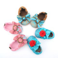 Flower Stripe Bowknot Baby Boat Shoes