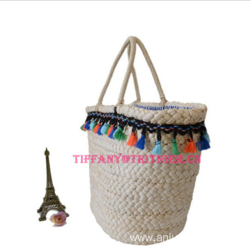 Hot selling corn husk beach bag with handle