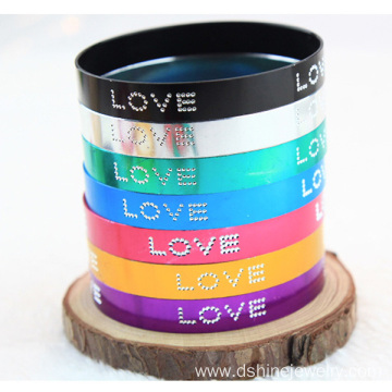 LOVE Words Multi Color Bracelet Wide Aluminium Metal Bangles