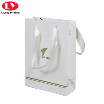 Matt White Paper Bag nga adunay Handle Packaging