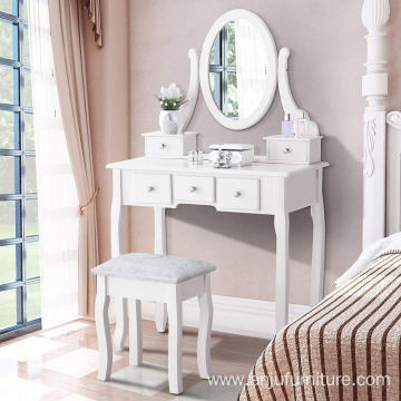 White Vanity Table with Oval Mirror/ 5 Drawers Makeup Table with Mirror Wood Dressing Table w/Cushioned Stool