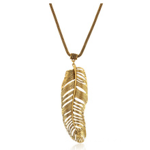 Vintage Gold Leaf Feather Alloy Women Pendant