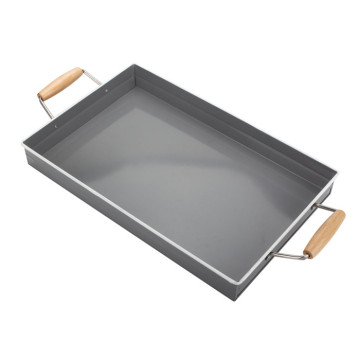 Grey Square Metal Serving Tray with Wooden Handle