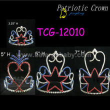 Patriotic tiara rhinestone pageant crowns