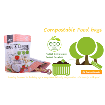 Biodegradable Packaging  Customized Food Ziplock Bag with Zipper & Window