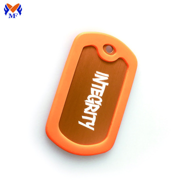 Anodized aluminum dog tag with custom logo