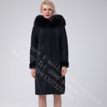 Women Bright Thread Decoration Australia Merino Shearling Coat
