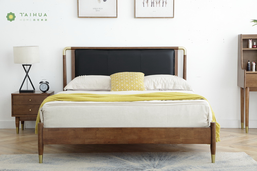 Solid Rubber Wood Headboard with Wide PU Cushion