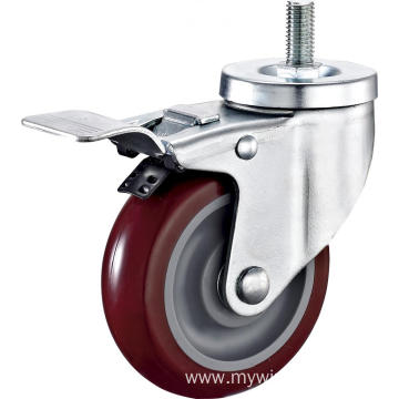 5'' Thread Stem Industrial PU Caster With PP Core With Brake