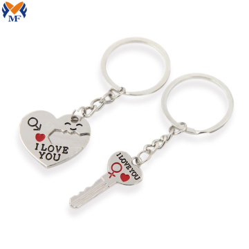 Metal custom couple keychain gift