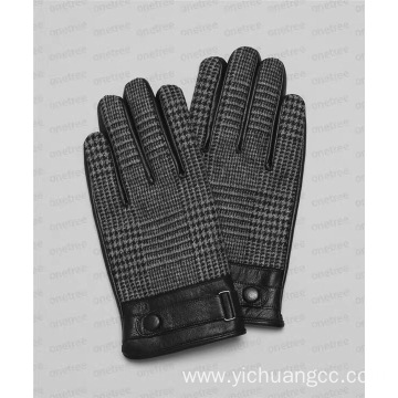 Grid customized PU Imitation leather mens glove