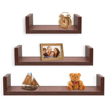 PVC Board Set of 3 floating U  Wall mounted shelves