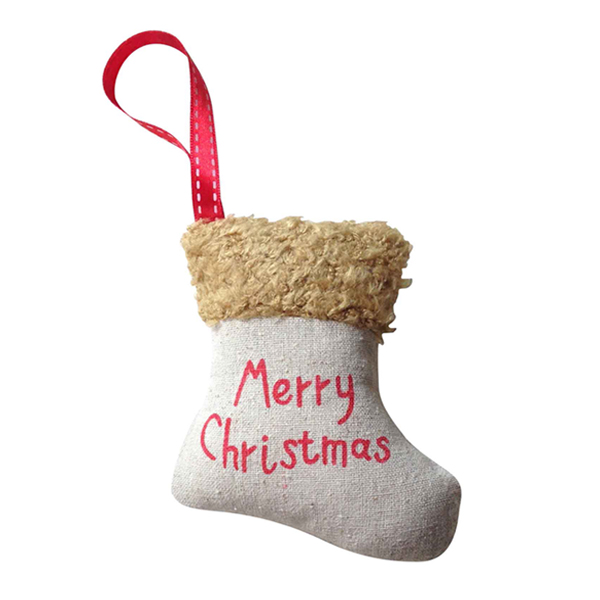 Burlap Christmas Stocking Ornaments