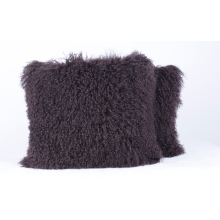 Long Curly Hair Lamb Fur Pillow Dyed Brown