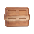 Square wooden food serving tray