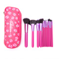 makeup brush with Strawberry printing cloth bag