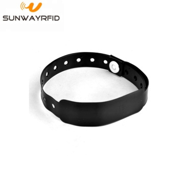 Black 860-960MHZ RFID PVC Disposable Wristbands