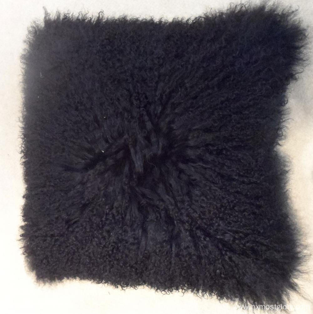Black Mongolian lamb fur pillow cases
