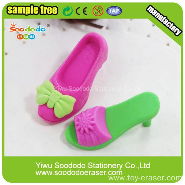 Red Green Shoes Shaped Eraser For Girls