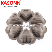 OEM/ODM for China Silicone Baking Molds,Silicone Pudding Mold,Silicone Pudding Pan Manufacturer Round 6 Cups Silicone Heart Mold Pan supply to Paraguay Exporter
