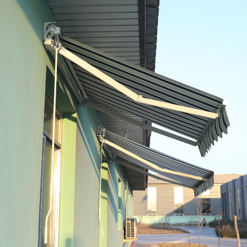 Retractable arms awning 1.8*1.2 Yellow and white stripes