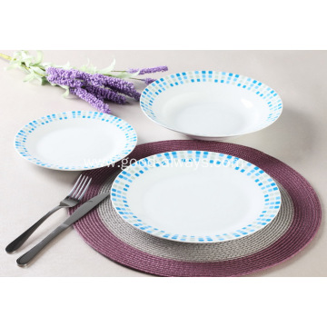 18 Piece Decal Porcelain Dinner Set with dots decal