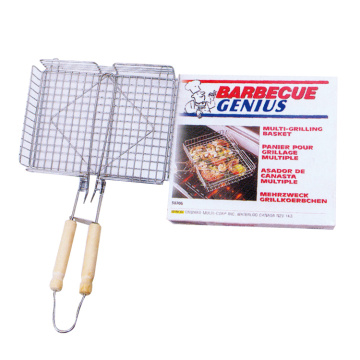 Grill basket with folding handle