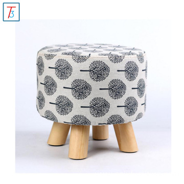 Decorative printing linen round stool with 4 wooden legs