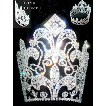 China for Rhinestone Crowns Full Round Crown Flower Tiaras T-150 export to Afghanistan Factory