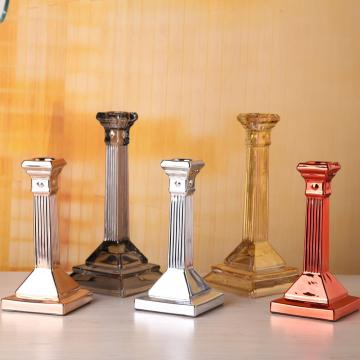 Cheap price for Long Stem Hurricane Candle Holder Colorful Square Base Candle Holder Glass supply to India Manufacturer