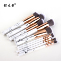 White Marble Metal Aluminum Tube Makeup Brush