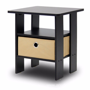 Espresso brown Table Bedroom Night Stand with non-woven bins