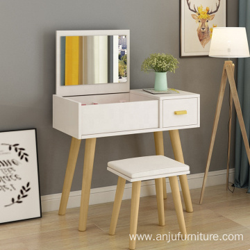 Small White Modern  Mirror Dressing Table with Stool