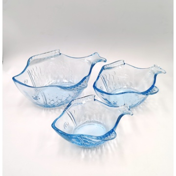 blue color fish shaped glass plate glass bowl for kitchen