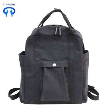Simple and versatile female ins canvas travel backpack