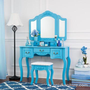 Blue color Beauty Station Makeup Table Wooden Stool Set Mirrors with Organization Drawers