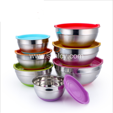 7 Colours Stainless Steel Mixing Bowls With Lids