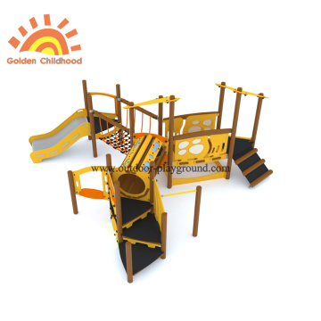 HPL Wooden Tube Slide Park Equipment For Kids