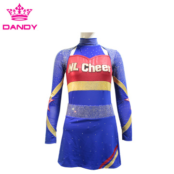 Metallic Fabric Navy Blue Cheer Uniform