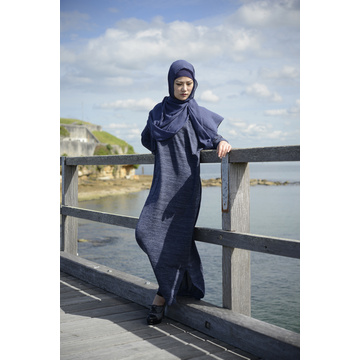 Blue Knit Fabric batwing Dress