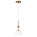 White Glass Lampshade Semicircle Pendant Light