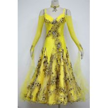 Factory directly sale for Ladies Ballroom Dress Yellow Competition dance costumes export to Palau Importers