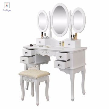 White modern makeup dresser with 3 mirrors