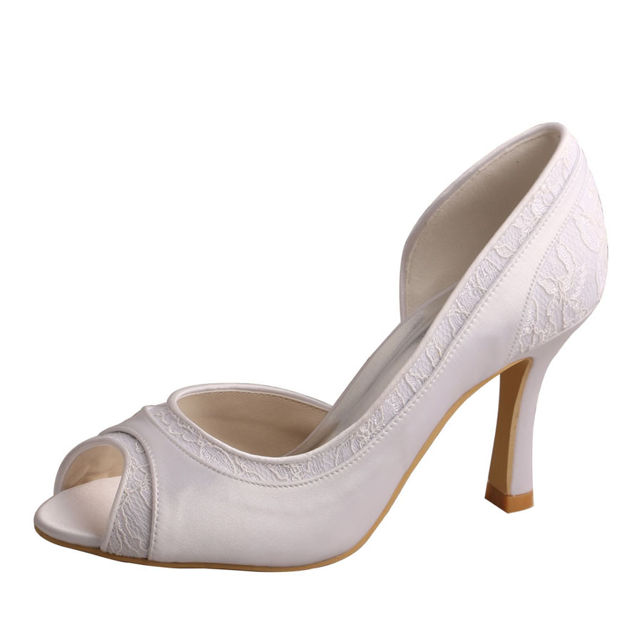 Peep Toe White Shoes For Wedding