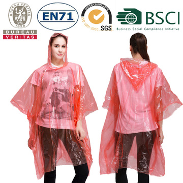 Adult Colorful PE Rain Ponchos