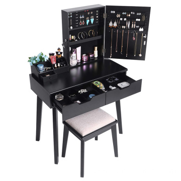 Vanity Makeup Table with Lockable Jewelry Cabinet Makeup Organizer Cushioned Stool 2 Sliding Drawers Makeup Desk with Drawer Bla